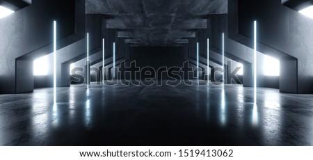 Neon Glowing Laser Blue Pylons Arch White Concrete Underground Garage Sci Fi Futuristic Hall Stage Podium Grunge Columns Dark Spaceship Tunnel Corridor 3D Rendering Illustration