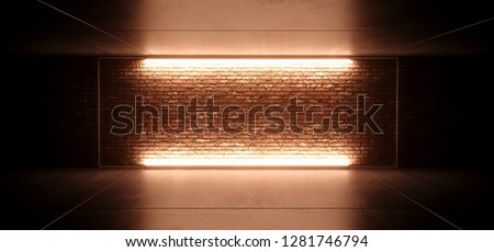 Neon Glowing Led Sci Fi Futuristic Retro Club Stage With Empty Lighted Orange Yellow Frosted Glass Frame On Grunge Brick Wall Concrete Floor Ceiling Reflections 3D Rendering Illustration