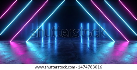 Neon Glowing Lights Retro Cyber Triangle Blue Purple Luminous Fluorescent Lights Abstract Grunge Concrete Tunnel Room Sci Fi Futuristic Stage Empty Night Background 3D Rendering Illustration