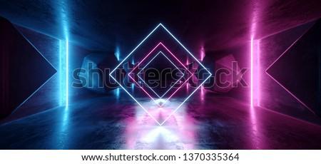 Neon Glowing Psychedelic Vibrant Cosmic Ultraviolet Fluorescent Luxurious Luminous Sci Fi Futuristic Retro  Vertical Lights Purple Blue Grunge Concrete Tunnel 3D Rendering Illustration