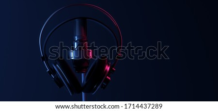 Neon Glowing Purple Blue Microphone Closeup Headphones Music Studio Vibrant Electric Synthwave Club Podcast Performance Show Event Empty Room Shiny Stage Poidum Concert 3D Rendering illustration