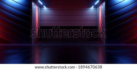 Neon Glowing Sci Fi Futuristic Blue Purple Red Cement Garage Door Parking Showroom Showroom Hangar Alien Spaceship Dark Cyber Background 3D Rendering Illustration