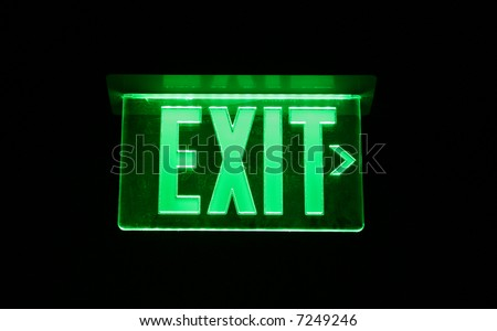 Neon Green Exit Sign set on black
