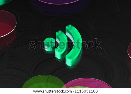Neon Green Rss Feed Glass Icon on the Black Background. 3D Illustration of Green Blog, Feed, News, Rss Icon Set on the Dark Black Background.