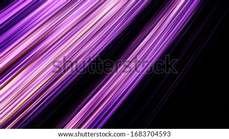 Neon halogen light straight rays flashing on black background, seamless loop. Animation. Abstract blinking purple lines moving and blinking chaotically. stock photo