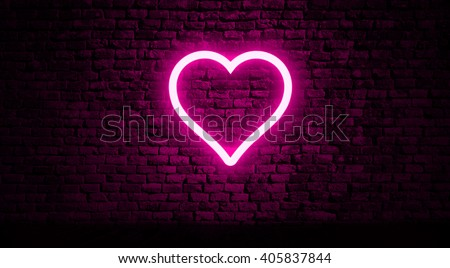 Neon heart on brick wall #405837844
