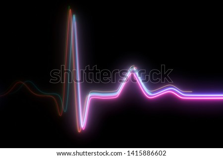 Neon heartbeat on black isolated background. 3d illustration. Background heartbeat line neon light heart rate display screen medical research Stock photo ©