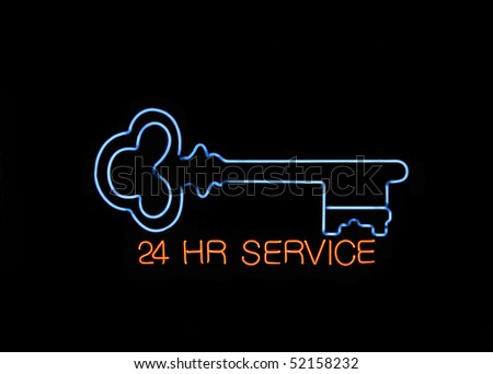 Neon 24 hours Locksmith Sign with a Key