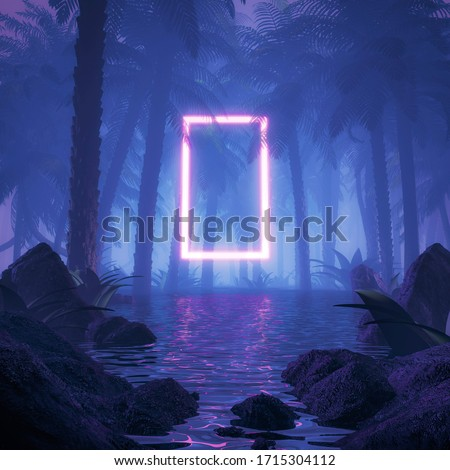 Neon jungle portal / 3D illustration of surreal glowing rectangular portal floating in watery tropical forest
