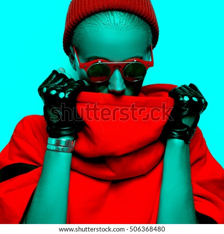 Neon Lady Stylish Accessories. Glasses, Gloves. Hipster fashion Art