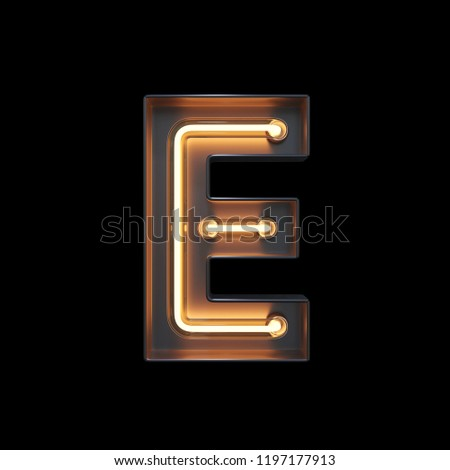 Neon Light Alphabet E with clipping path. 3D illustration