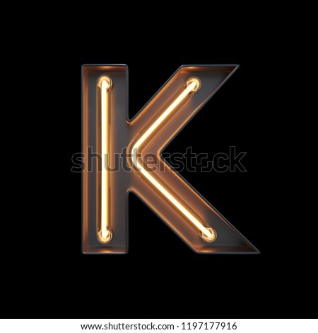 Neon Light Alphabet K with clipping path. 3D illustration