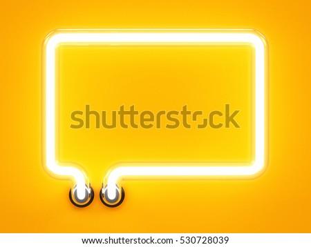 Neon light alphabet speech bubble message mark sign. Neon tube letters glow effect on orange background. 3d rendering