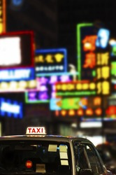 Neon light and Taxi in Hong Kong city