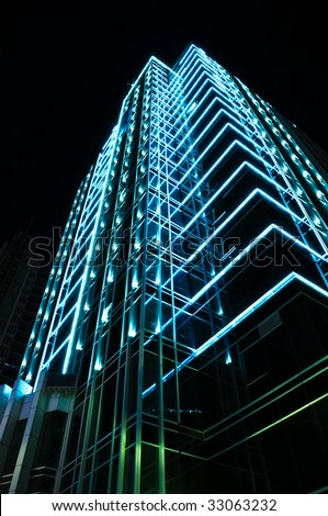 neon light decorating a mordon building