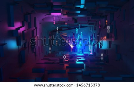 Neon light, ultraviolet. Cyberspace and virtual reality 3d illustration. Inside spacecraft. Fantastic tunnel, digital city, binary code. Quantum processor and future technologies