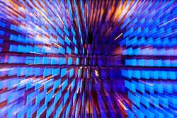 Neon light windows moving in to deep sapce on the center with zoom effect, bright blue and pink. Abstract futuristic explosion of colors in the shape of blue windows.