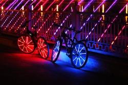 neon lights on bicycle wheels