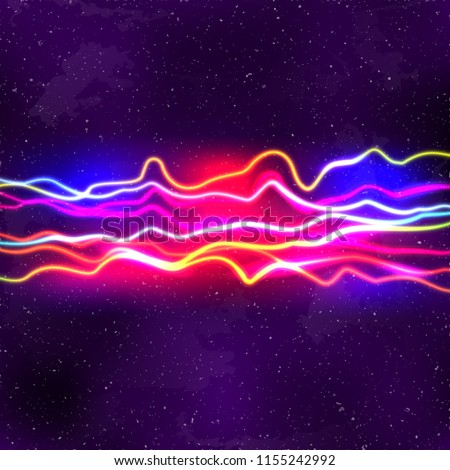 Neon lines New Retro Wave background with 80s dusty vhs style Stock photo ©