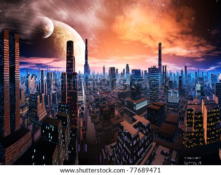 Neon Lit Cityscape on Distant World