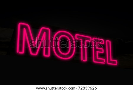 Neon motel sign - stock photo