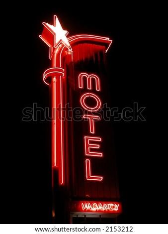 Neon Motel Sign at night