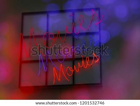 Neon Movie Theater Sign, Movies Movies Movies