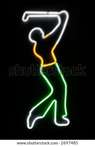 Neon of Golfer from the 60s as seen from a translucent glass - stock photo