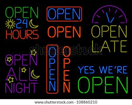 Neon Open Signs - raster