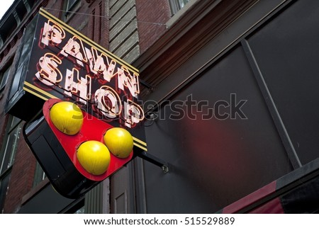 Neon pawn shop sign. - Shutterstock ID 515529889
