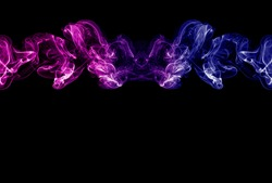 Neon pink, purple and blue smoke in the on a dark isolated background. Background from the smoke of vape. Web and app concept