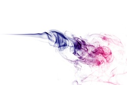Neon pink, purple and blue smoke in the on a white isolated background. Background from the smoke of vape. Web and app concept
