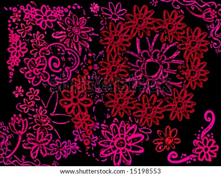 Neon Pink Various Flowers on Black Background Illustration