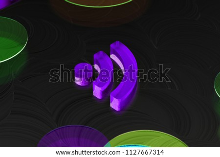 Neon Purple Rss Feed Icon on the Black Background With Colorful Circles. 3D Illustration of Purple Blog, Feed, News, Rss Icon Set on the Black Background.