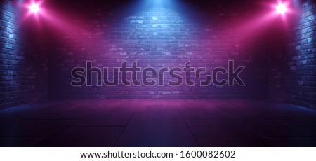 Neon Retro Brick Walls Club Mist Dark Foggy Empty Hallway Corridor Room Garage Studio Dance Glowing Blue Purple Spot Lights Concrete Floor 3D Rendering Illustration