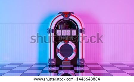 Neon retro jukebox on white wood planks wall and checker black white floor. 3d render. 60s 70s 80s