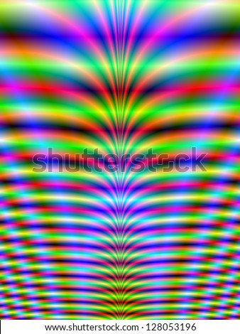 Neon Ribs/Digital abstract fractal image with a neon rib design in green, blue and red.