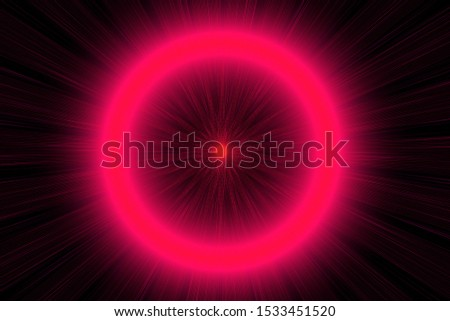 Neon round shining object in the dark. Purple starlights. Bright glow on black background. Abstract illustration with glowing blurred lights. Overlay background with shining lens flare