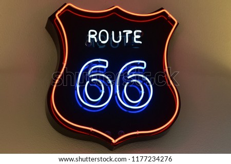 Neon Route 66 sign #1177234276