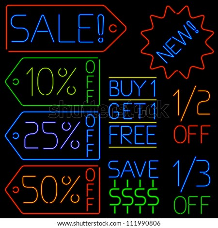 Neon sale signs - raster