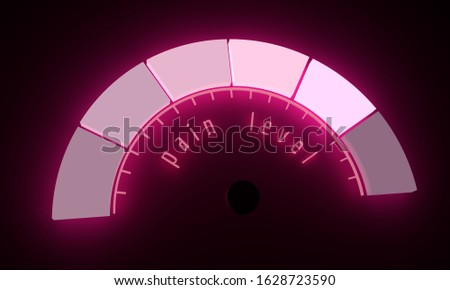 Neon shine scale. The pain level measuring device icon. Sign tachometer, speedometer, indicators. Colorful infographic gauge element. 3D rendering