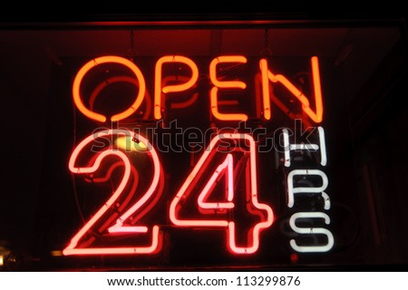 "neon shining signboard with word ""open"" night"