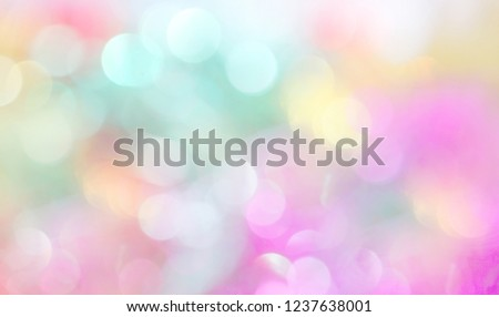 Neon shiny background with multicolored sparkles and circles. Bright fashionable colors of the season - yellow, pink and blue. #1237638001