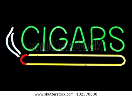 Neon sign at cigar store