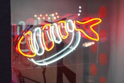 neon sign fish. health seafood. luminous commercial window