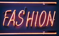 neon sign for fashion - close-up