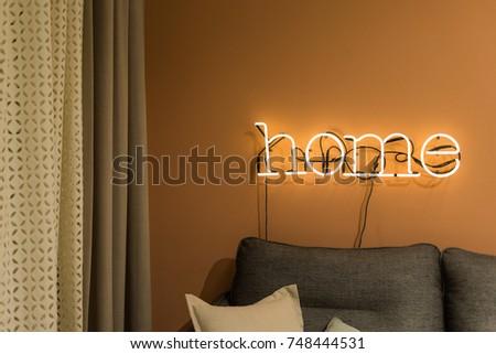 neon sign interior, home