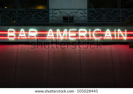 Neon Sign of american bar