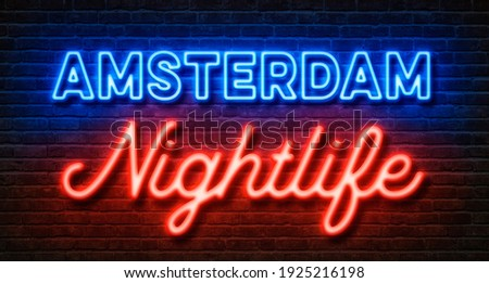 Neon sign on a brick wall - Amsterdam Nightlife ストックフォト ©