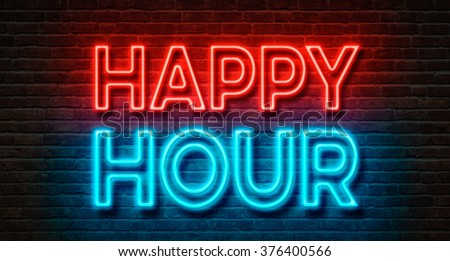 Neon sign on a brick wall - Happy Hour #376400566